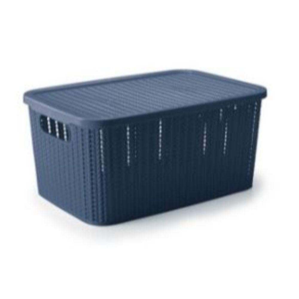 Caixa Trama Com Tampa - 2,8 Litros Azul