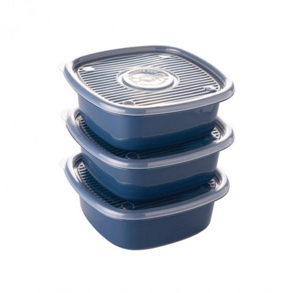 Conjunto de Pote Pop Quadrado 1L C| 3 Peças Plasutil