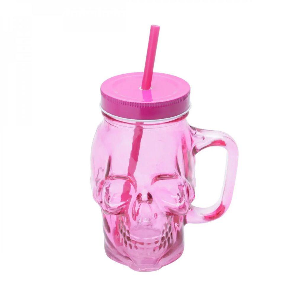 Copo Cidro C/Canudo skull Pink 500ml Urban