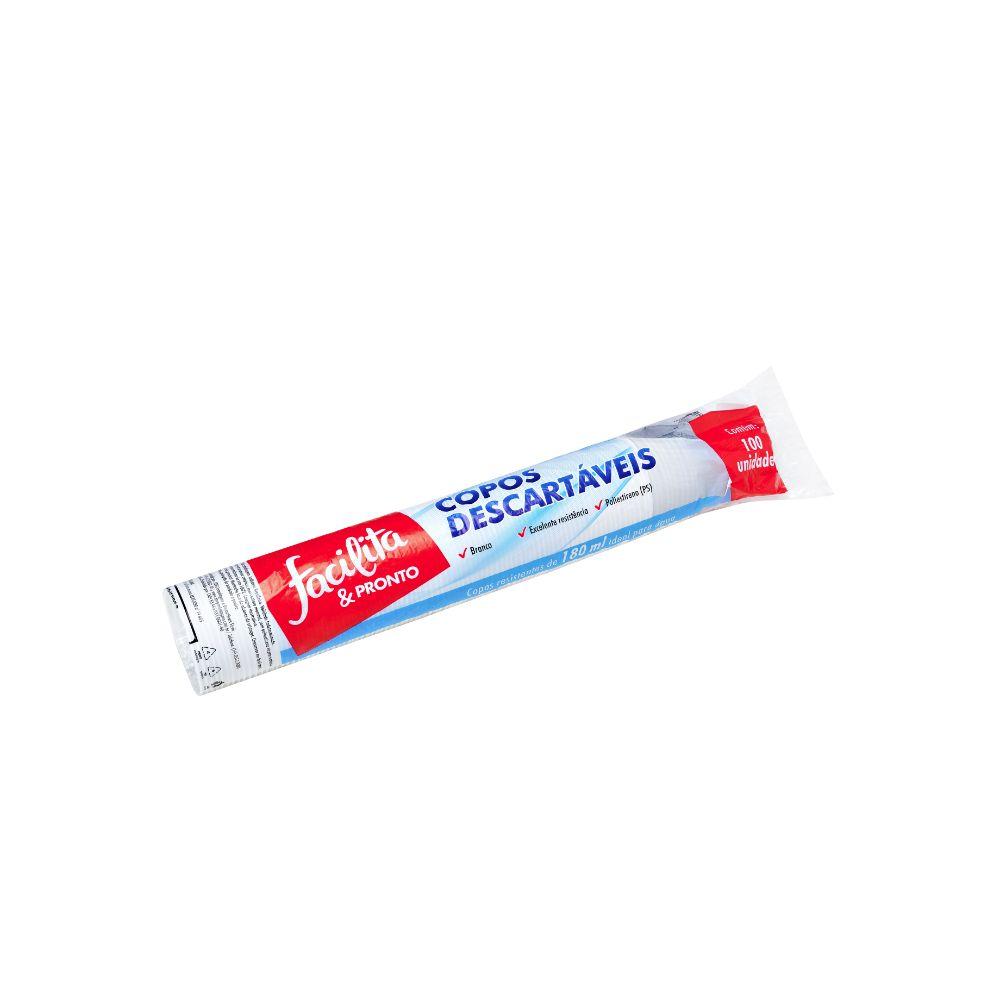 Copo Plastico Facilita & Pronto 180ml Ps Branco C/100