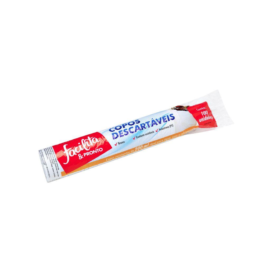 Copo Plastico Facilita & Pronto 200ml Ps Branco C/100