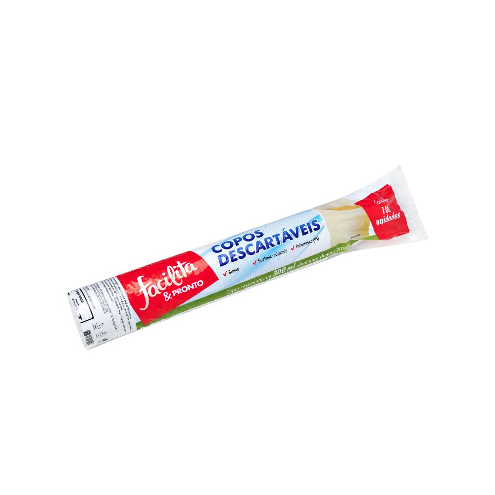 Copo Plastico Facilita & Pronto 300ml Ps Branco C/100