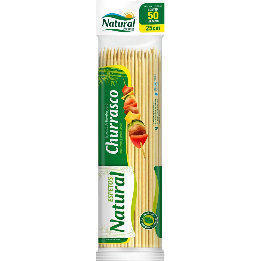 Espeto Bambu 25cm Natural C/50