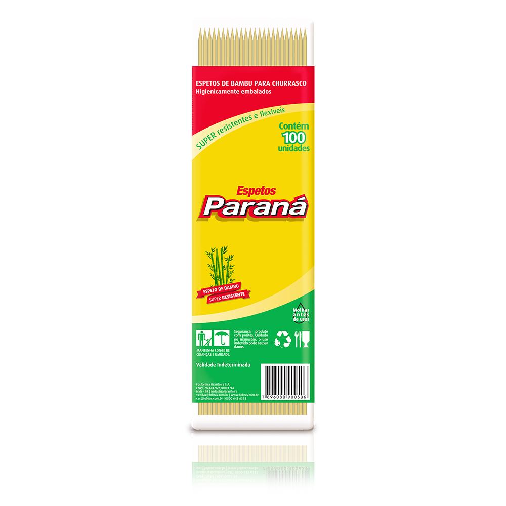Espeto Churrasco Parana 25cm C/ 100 Bambu