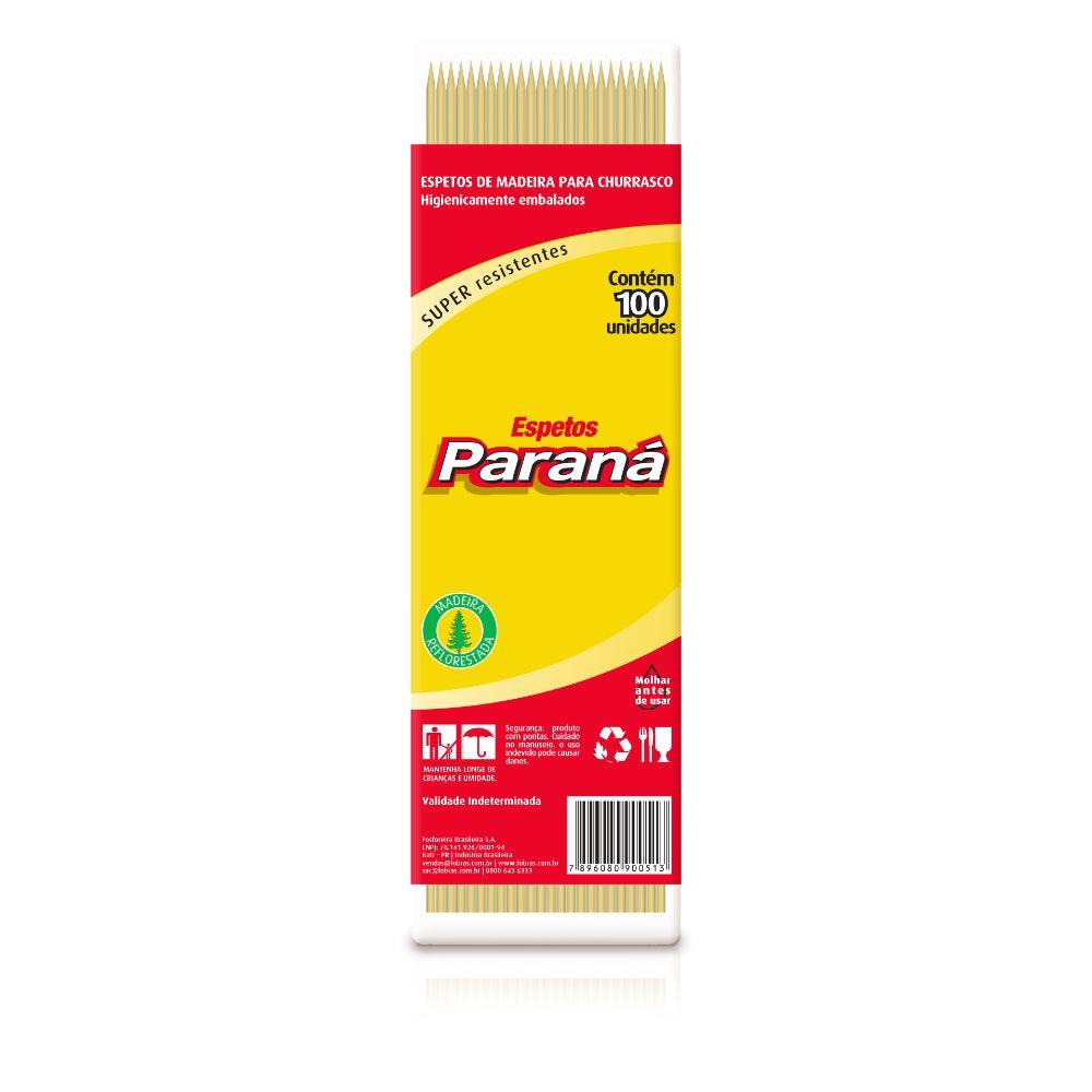 Espeto Churrasco Parana 25cm C/100 Madeira
