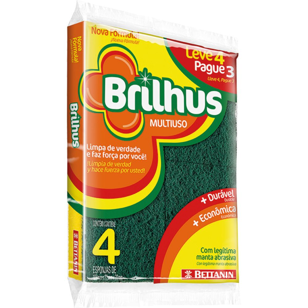 Esponja Brilhus Multiuso L4 P3 Ref Bt4514