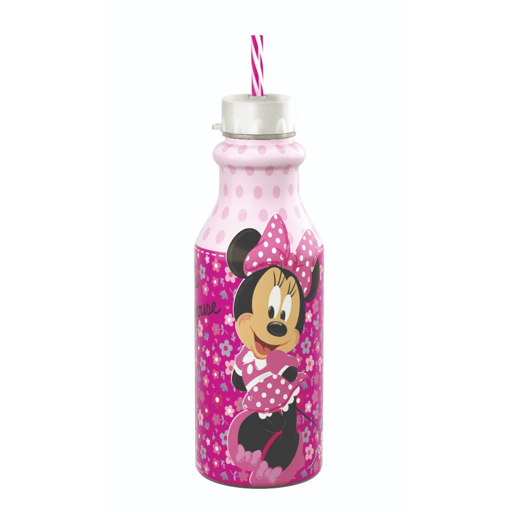 Garrafa Retro Com Canudo 500ml Minnie Rosa