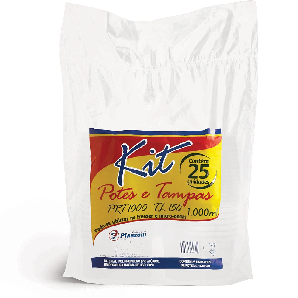 Kit Pote Plaszom 1000ml C/ Tampa Fundo Reto C/25