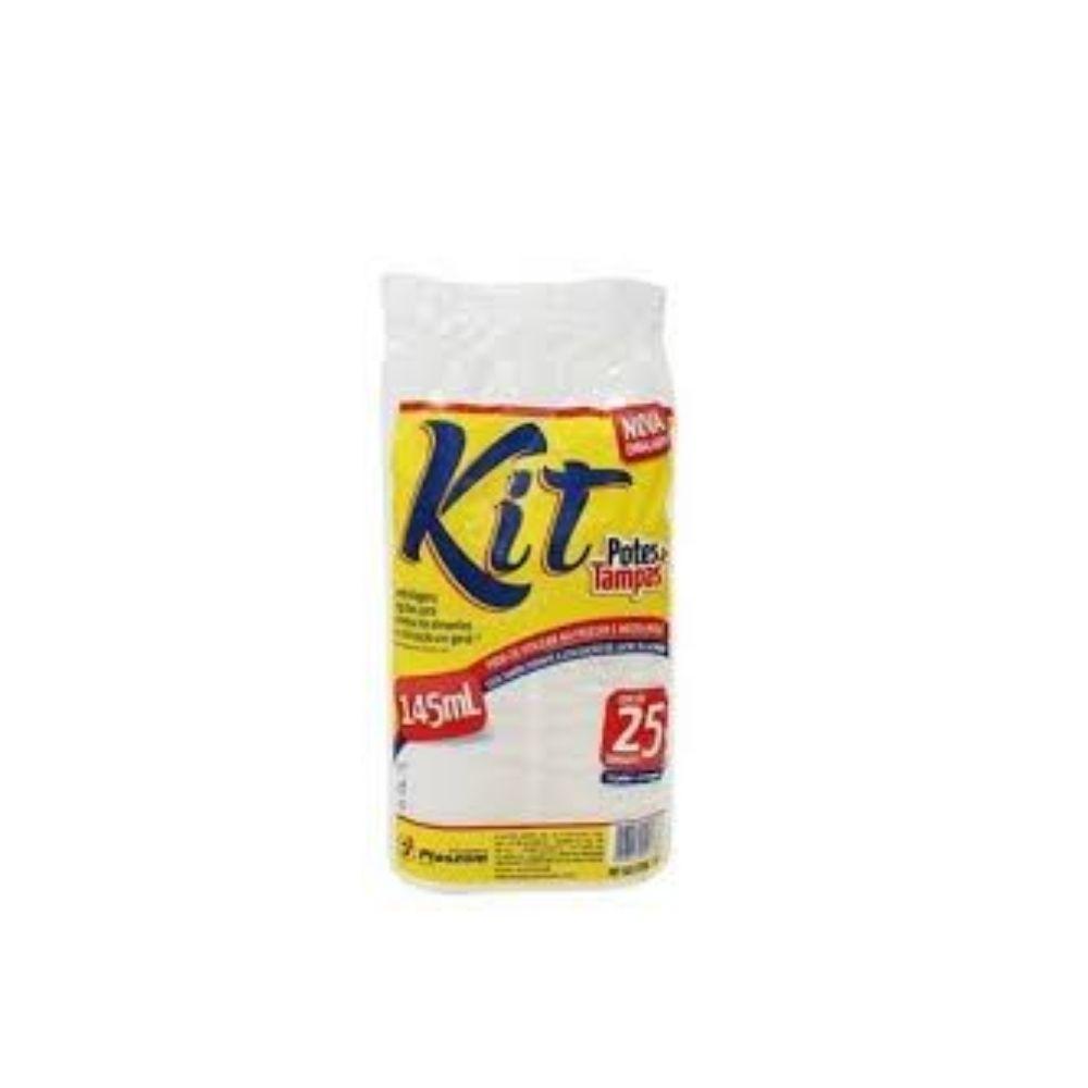 Kit Pote Plaszom 145ml Sobretampa Fundo Reto C/25