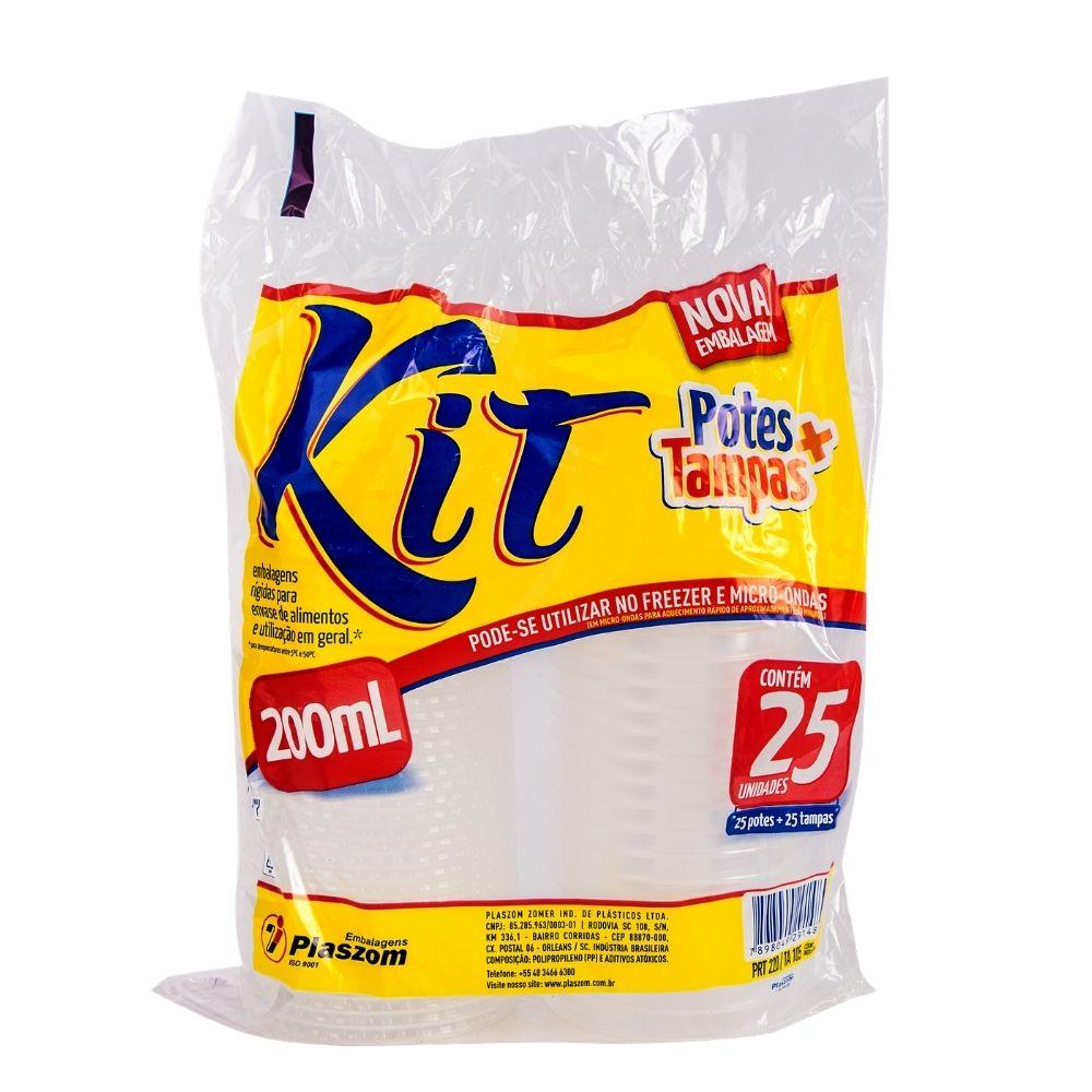 Kit Pote Plaszom 200ml C/Tampa Fundo Reto C/25