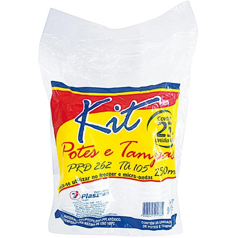 Kit Pote Plaszom 250ml C/Tampa Fundo Redondo C/25