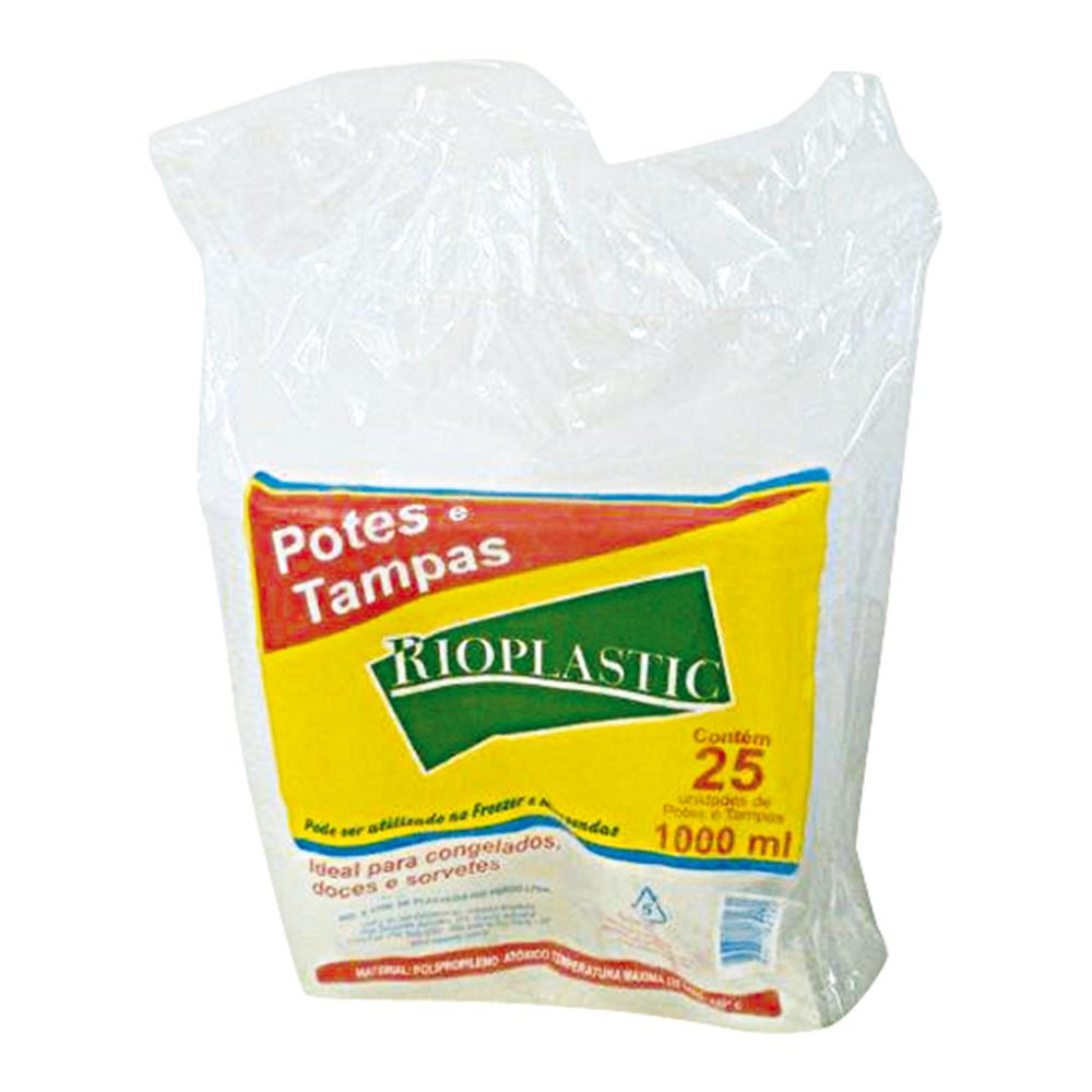 Kit Pote Rioplastic 1000ml C/Tampa Transp. C/25