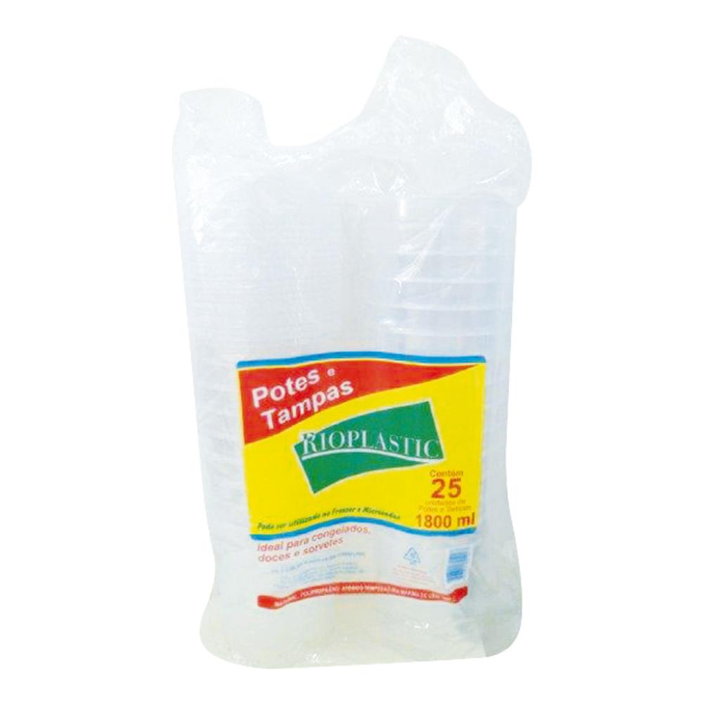 Kit Pote Rioplastic 1800ml C/Tampa Transp. C/25