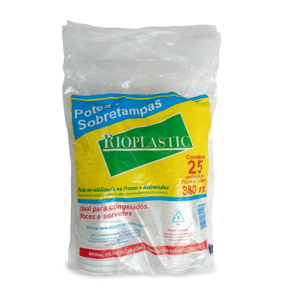 Kit Pote Rioplastic 380ml Sobretampa C/25