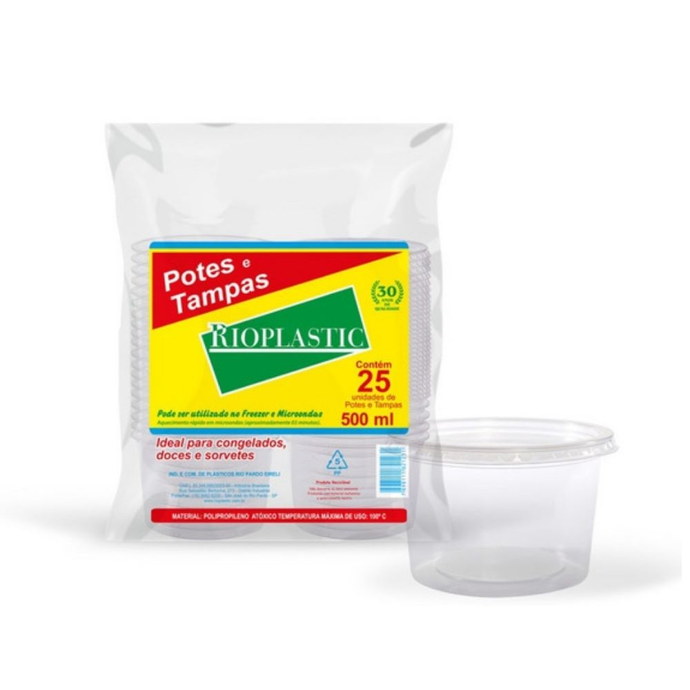 Kit Pote Rioplastic 500ml C/Tampa Transp. C/25