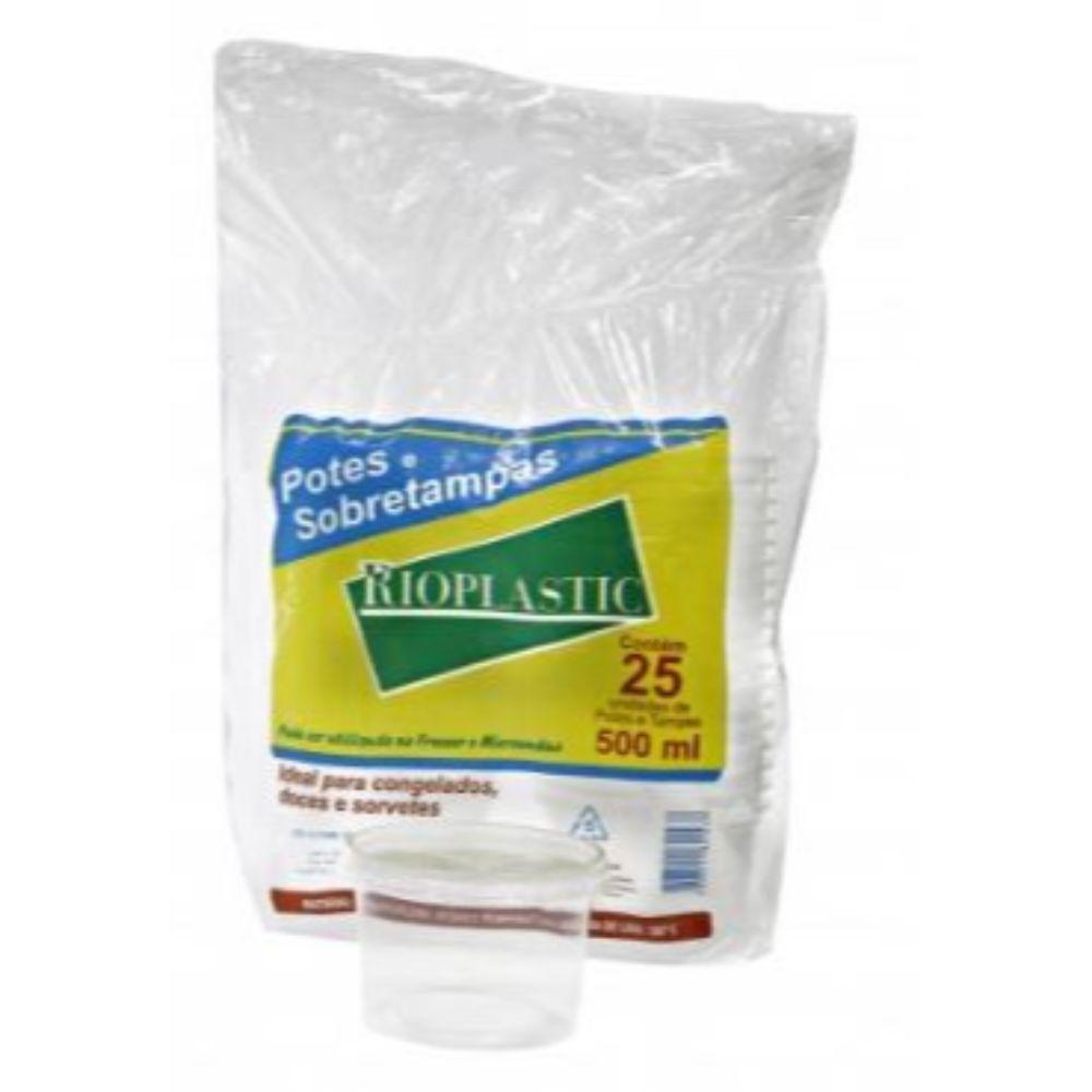 Kit Pote Rioplastic 500ml Sobretampa C/25