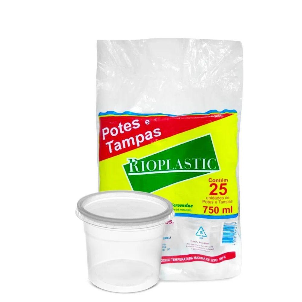 Kit Pote Rioplastic 750ml Sobretampa C/25