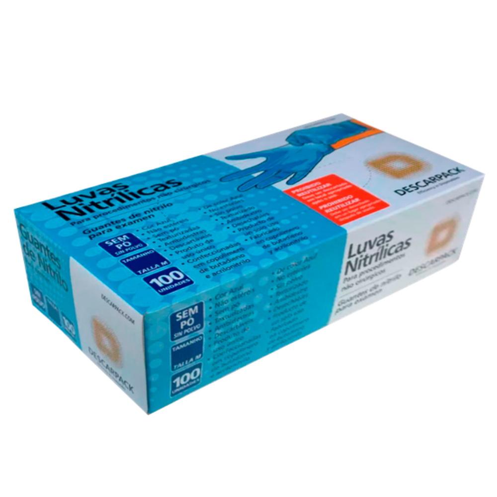 Luva Nitrilica S/Amido Descarpack Azul M C/100
