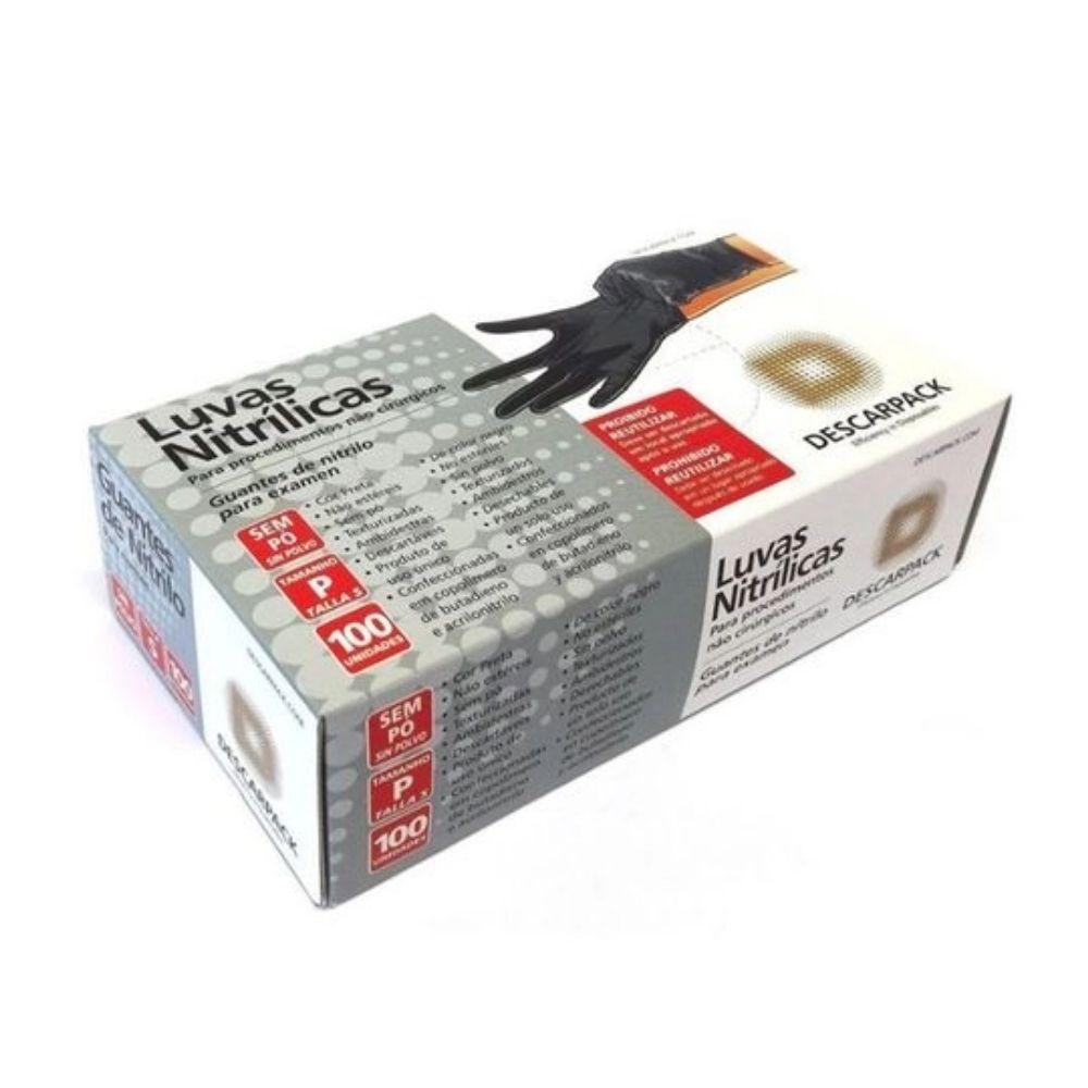 Luva Nitrilica S/Amido Descarpack Preta P C/100