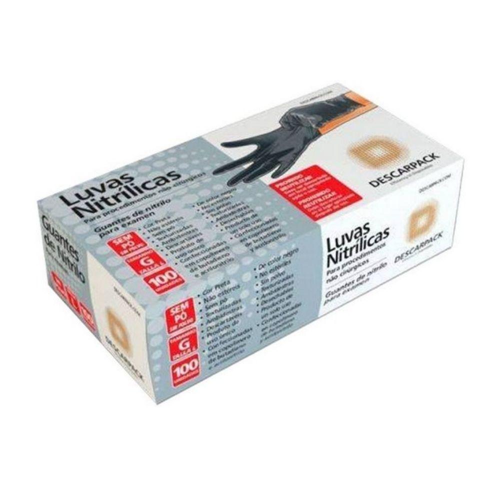 Luva Nitrilica S/ Amido Descarpack Preta Preta G C/100