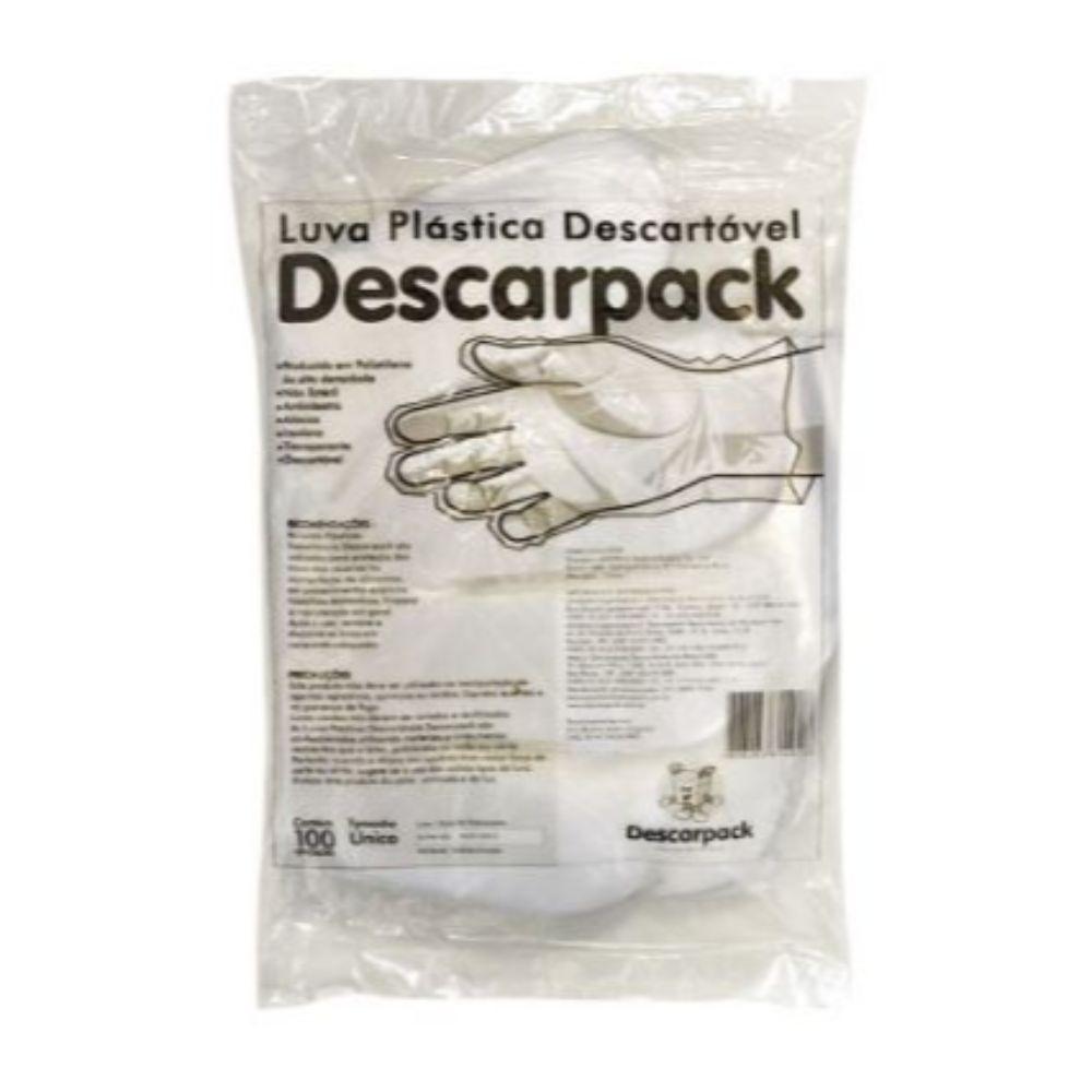 Luva Plastica Descartavel Descarpack Transparente C/100