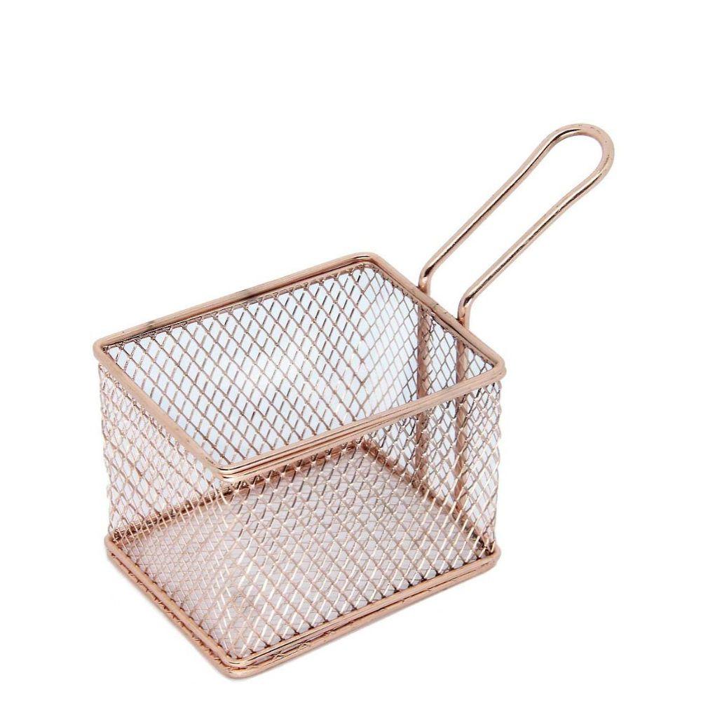 Mini Cestinha Retangular Inox Bronze Mimo Style