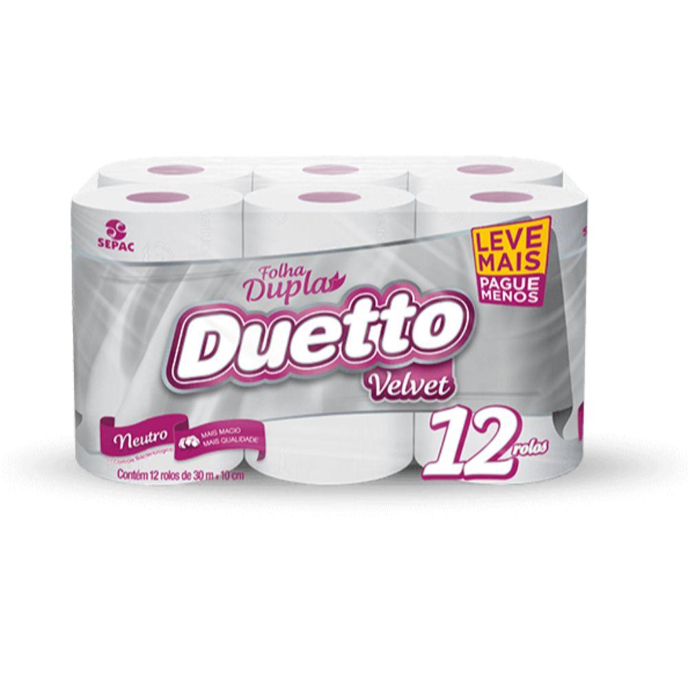Papel Hig Duetto Velvet Fd 30m C/12 Leve+Pague-