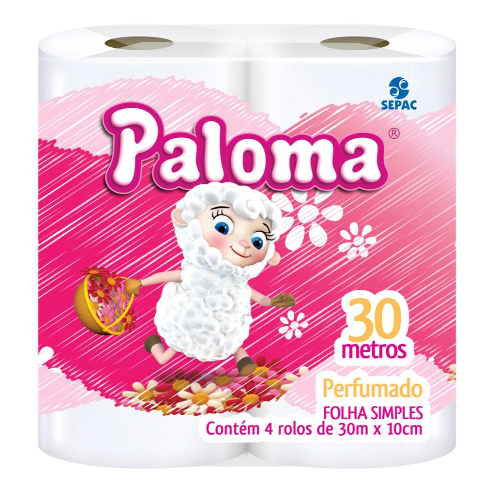 Papel Higiênico Paloma Perfumado Folha Simples 30Mts C| 4 Un