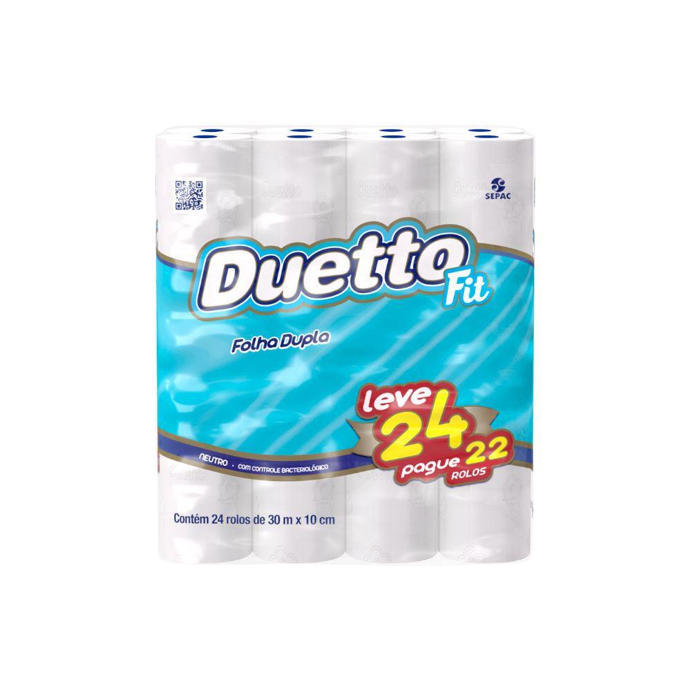 Papel Higiênico Duetto Folha Dupla 30Mt C/24 Fit