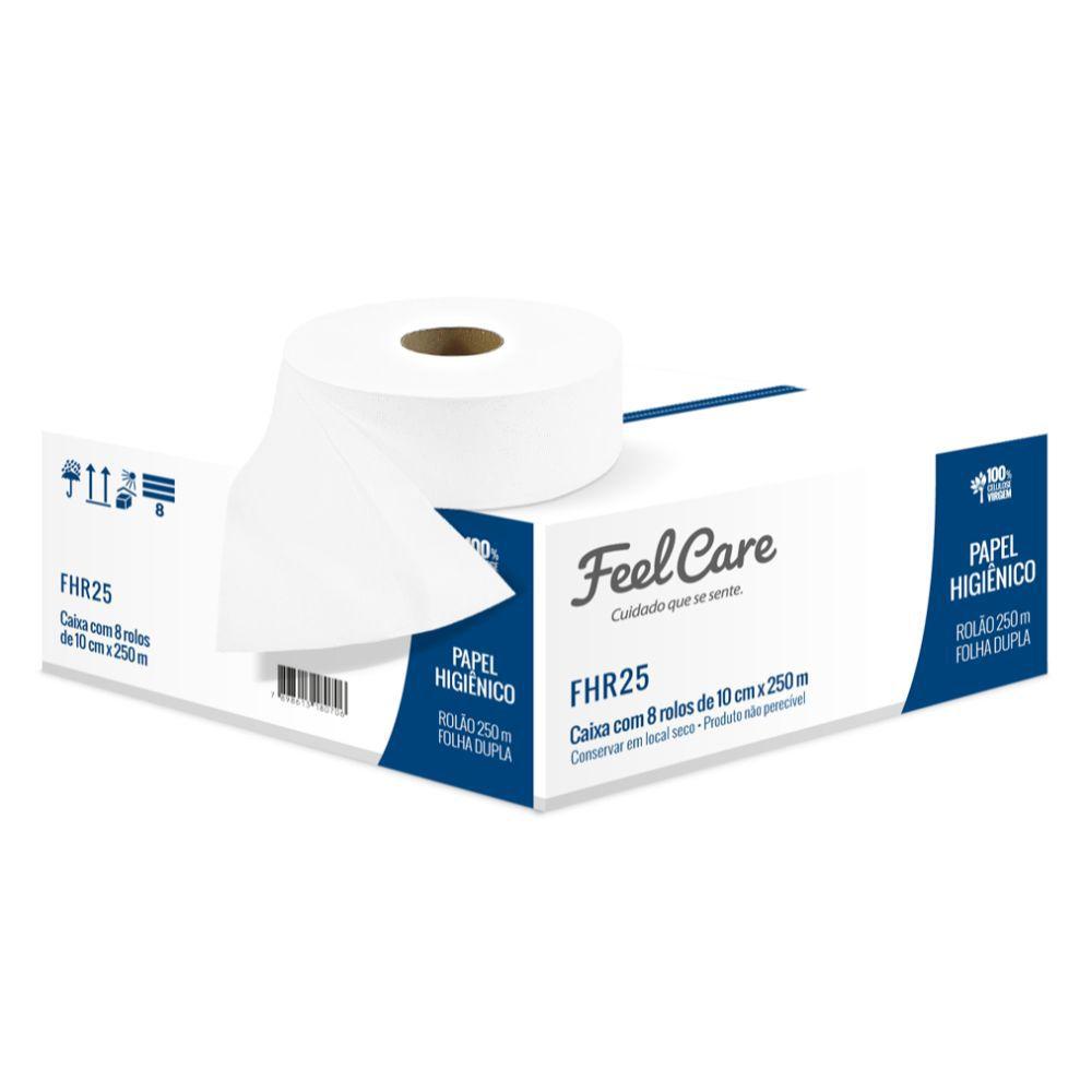 Papel Higiênico Feelcare Rolão Folha Dupla Fhr25 C|8 Un 250 Mts Cada