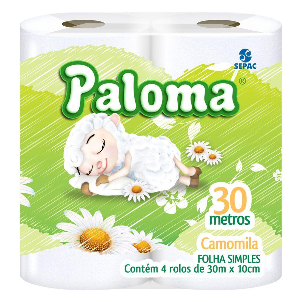 Papel Higiênico Paloma Camomila Folha Simples 30Mts C  4 Un