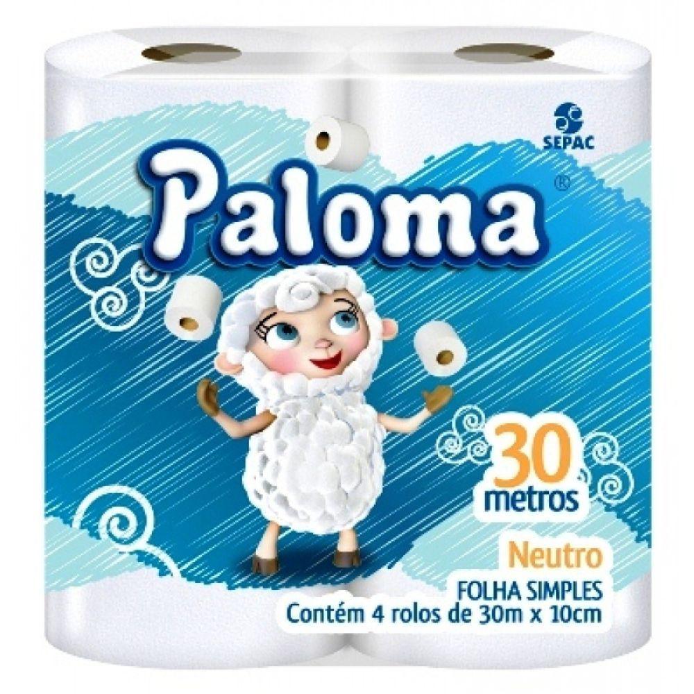 Papel Higiênico Paloma Folha Simples 30Mt C| 4 Un