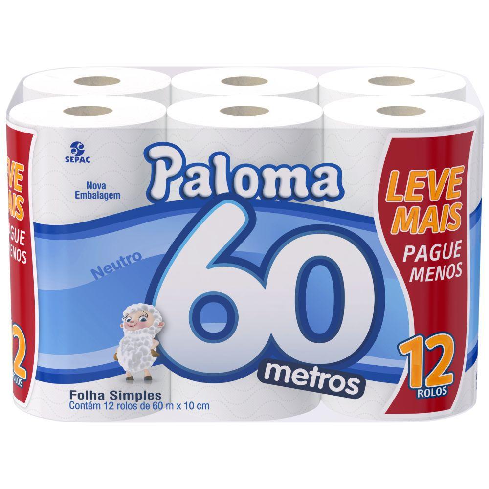 Papel Higiênico Paloma Folha Simples 60M C  12 Un