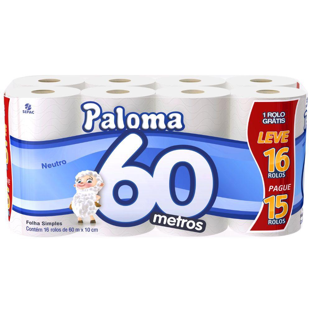 Papel Higiênico Paloma Folha Simples 60M C| 16 Un