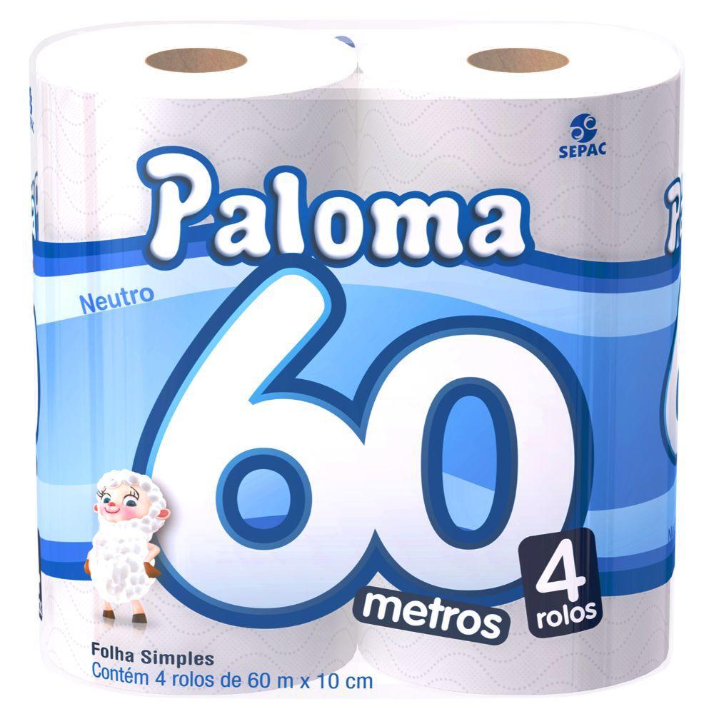 Papel Higiênico Paloma Folha Simples 60M C  4 Un