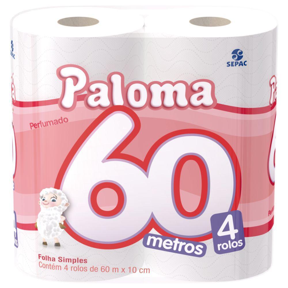Papel Higiênico Paloma Perfumado Folha Simples 60Mts C| 4 Un
