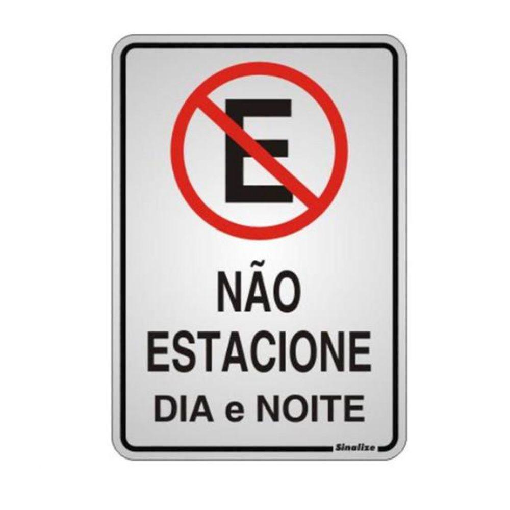 Placa Em Alumínio 16X23Cm Não Estacionar Dia Noite