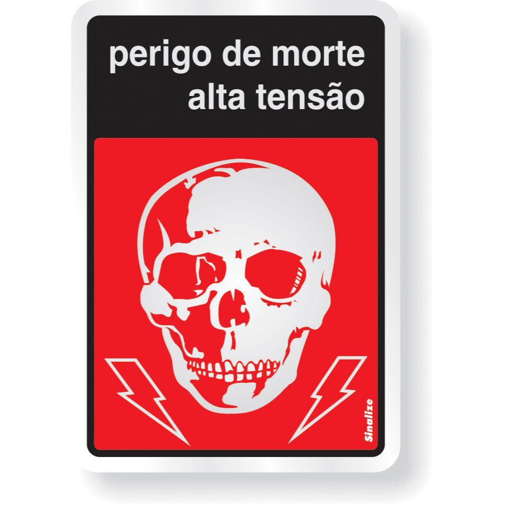 Placa Em Aluminio 16x23cm Perigo A.Tensao
