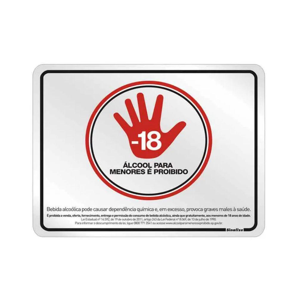 Placa Em Alumínio 25X20Cm Proibido Vender Para Menores De 18 Anos