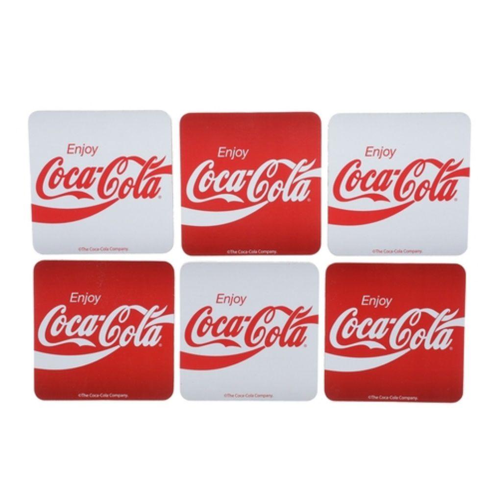 Porta Copos Cortica Coca-Cola Enjoy 10X10Cm Vermelho e Branco Urban