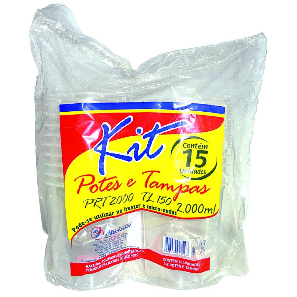 Pote Plast Plaszom 2000ml F Reto C/Tampa C/15