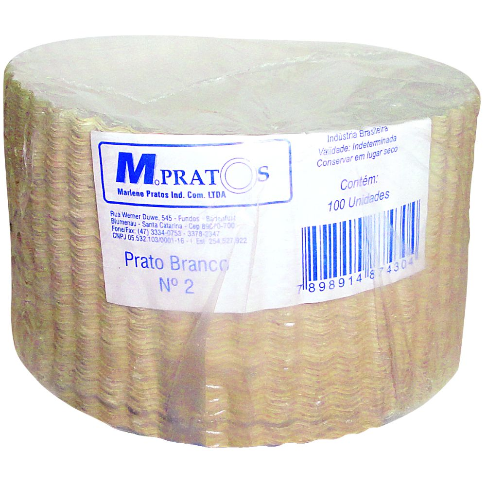 Prato Papelao N.2 Branco 15 Cm C/100