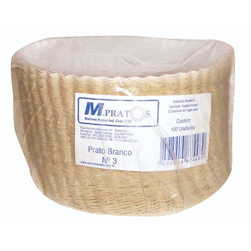 Prato Papelao N.3 Branco 18 Cm C/100