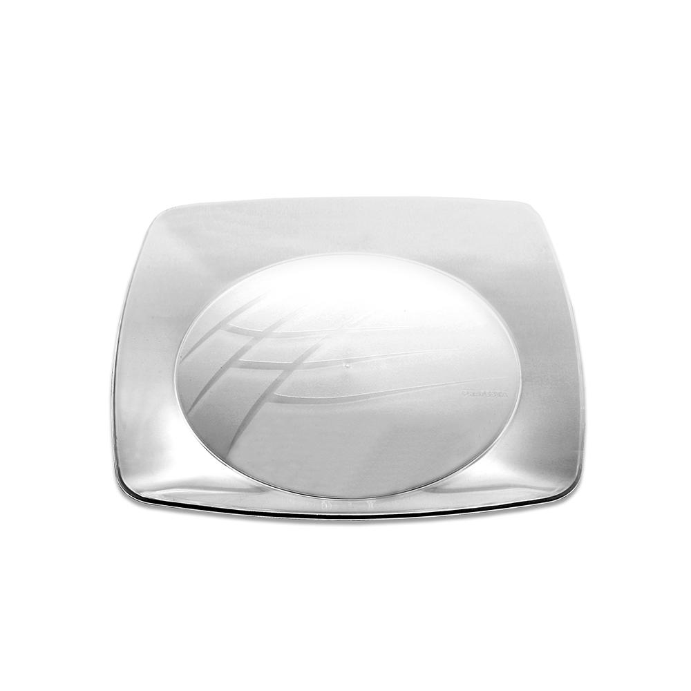 Prato Quadrado Grande 21cm C/10 Cristal