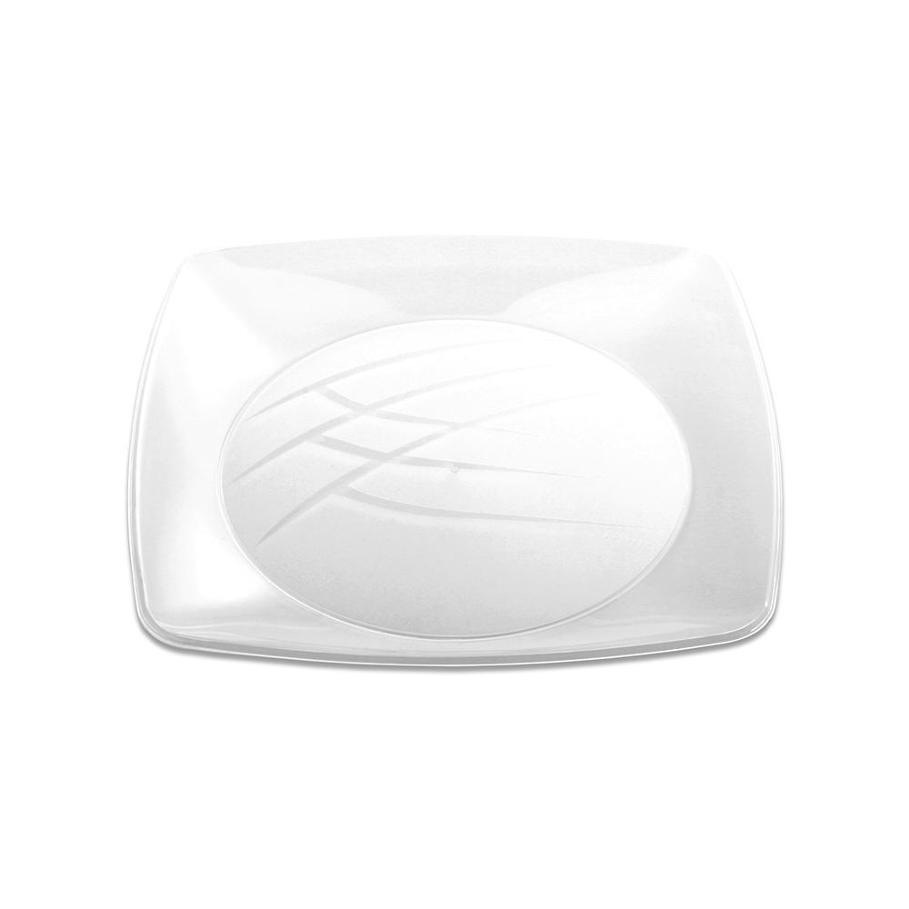 Prato Quadrado Grande 21cm C/10 Unidades Branco