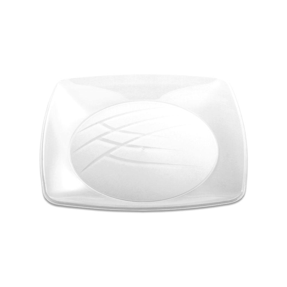 Prato Quadrado Medio 15cm C/10 Unidades Branco