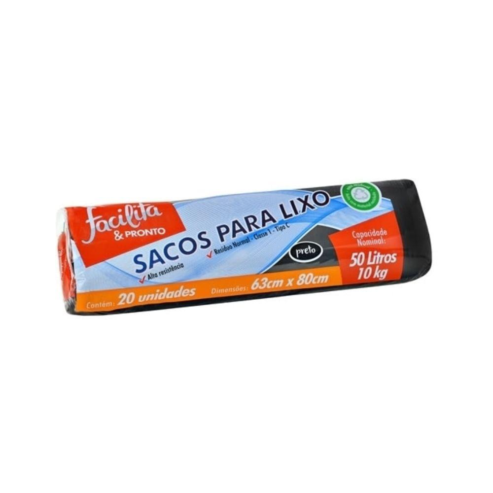 Saco De Lixo Facilita & Pronto Rolo Preto 50l C/20