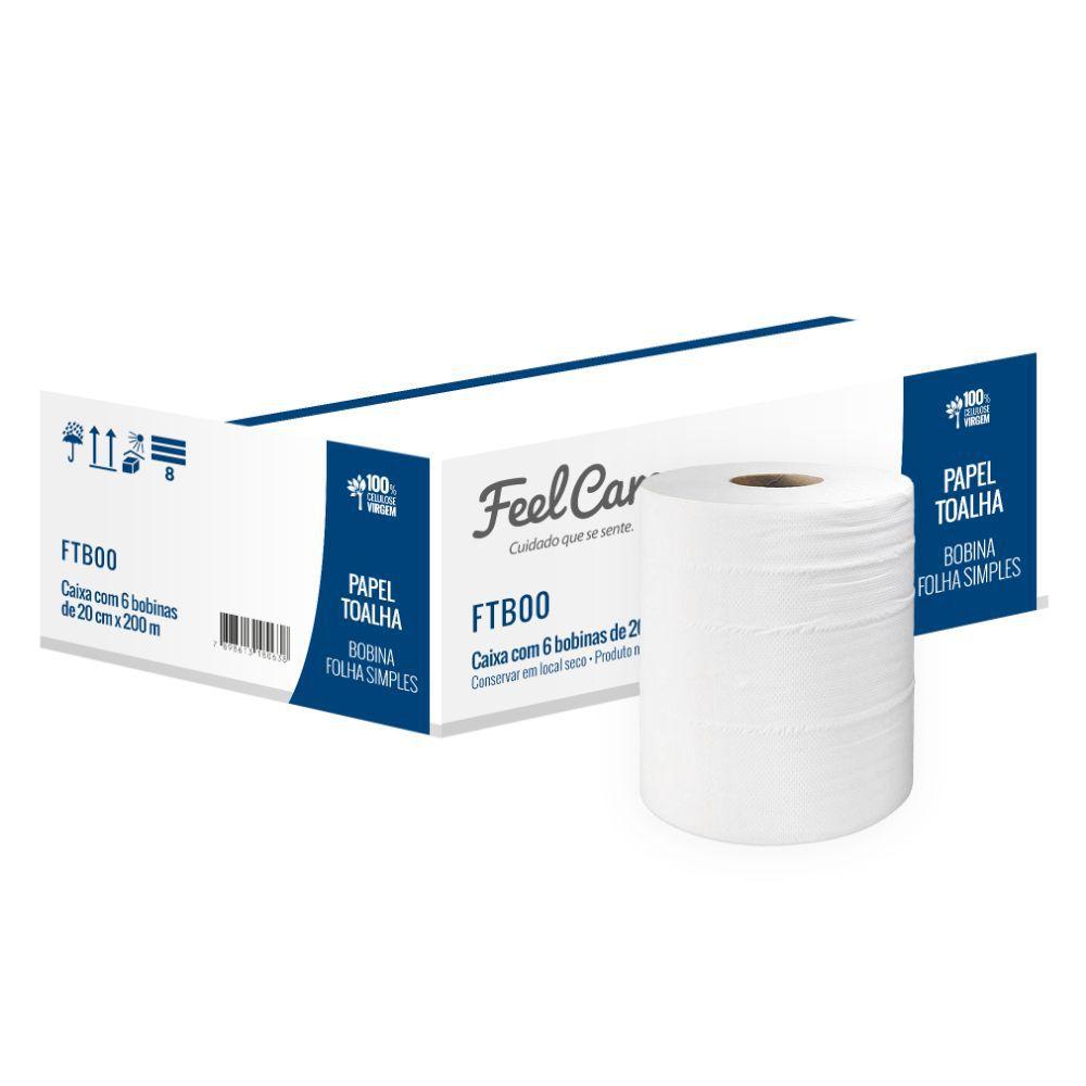 Toalha Bobina Feelcare Fs C  200 Mt Ftb00 C  6 Un
