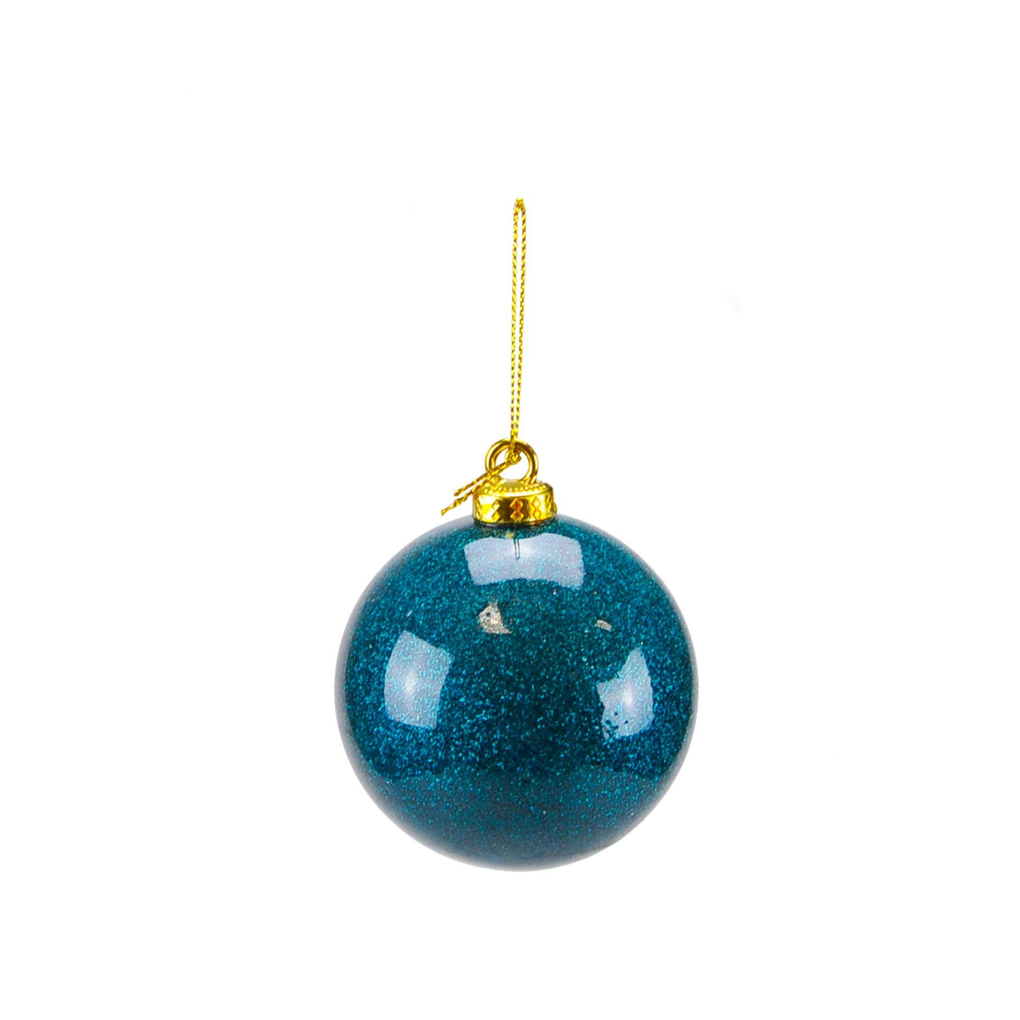 Bola Natal 08 cm Azul ( 03 peças)