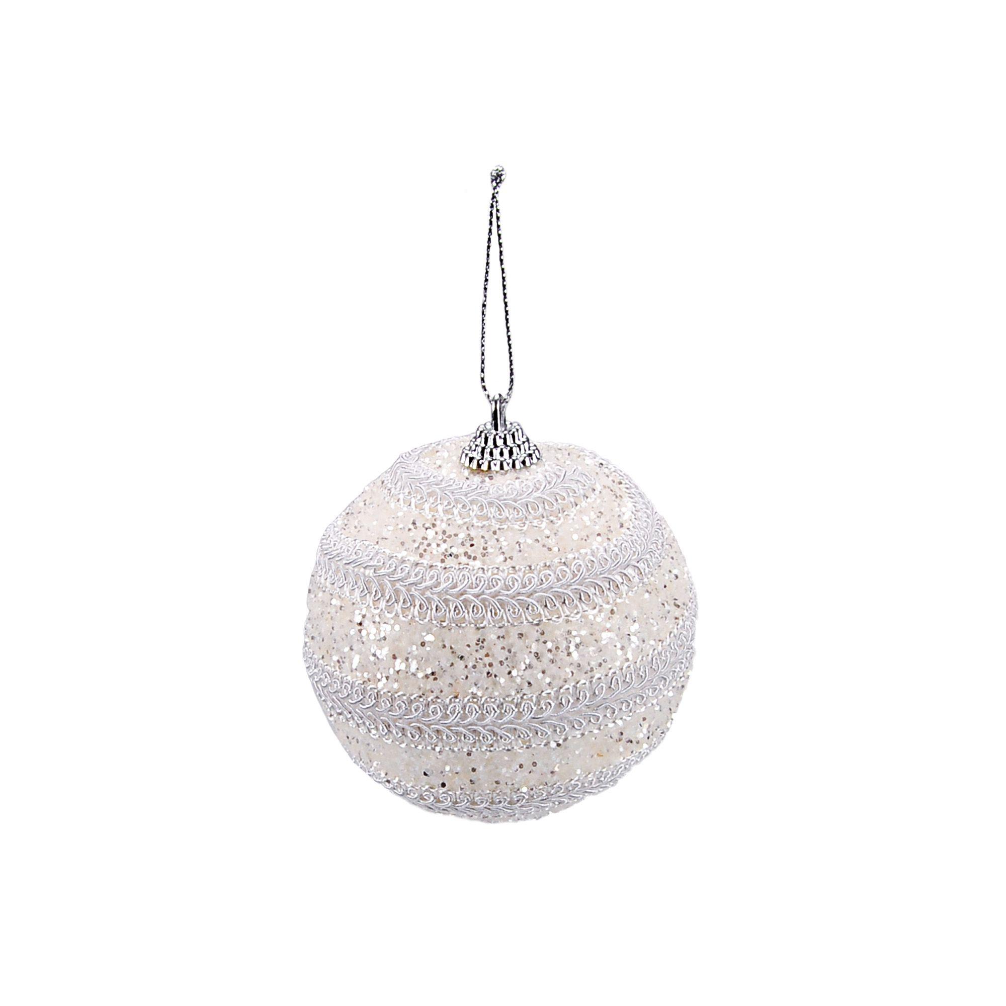 Bola Natal Espuma 08 cm Branca (03 peças)